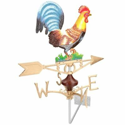 Cast Iron Rooster Cockerel Weather Vane with Wall Mount Attachment Metal Painted