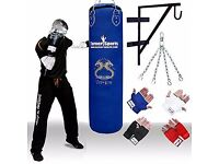 Professional Boxing Set including a Punch Bag (Blue), Chain, Inner Mitts, Wall Bracket by TurnerMAX