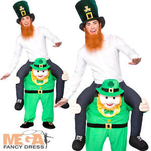 Carry Me Leprechaun Adults Fancy Dress St Patricks Day Irish Mens Cosutme Outfit
