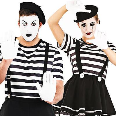Mime Artist + Beret Adults Fancy Dress French - Mime Artist Fancy Dress Kostüm