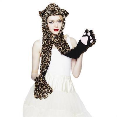Hell Bunny Schal mit Kapuze LEOPARD HOOD brown (Leopard Kapuzen Schal)