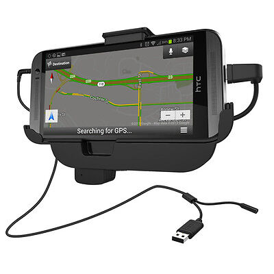 For HTC One M8: Vehicle Charging Dock Compatible Without or With a Slim-Fit Case