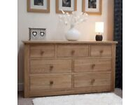 Solid Oak 7 Drawer Chest of Drawers NEW