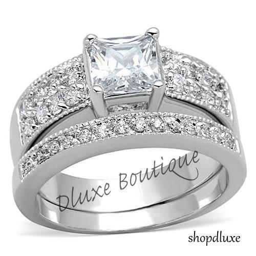 2.50 Ct Princess Cut Aaa Cz Stainless Steel Wedding Ring Set Women