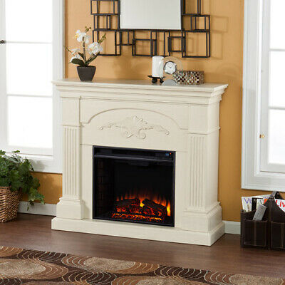 Southern Enterprises Chamberlain Electric Fireplace, Ivory