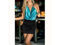 Women Deep V-neck Sleeveless Backless Halter Sexy Slim Ice Silk Club Dress 8-10