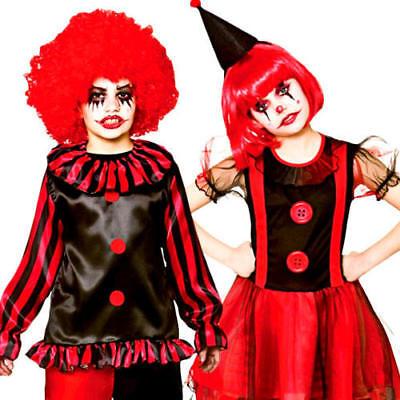 Evil Circus Clown Kids Fancy Dress Halloween Horror Carnival Childrens Costumes