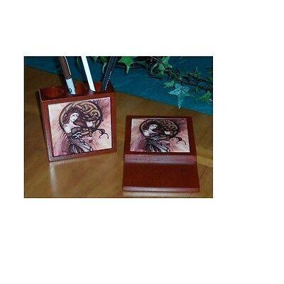 Jessica Galbreth Art Ceramic Tile Desk Set Celtic Witch Wood Pen & Note Holder