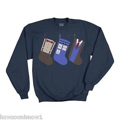 Doctor Who Ugly Sweater (Doctor Who Christmas Stocking Fleece Sweatshirt Ugly Sweater Style -  NEW)