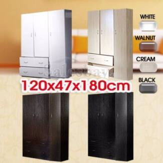 New Large Wooden Wardrobe Four Colors 3 Doors 2 Drawers
