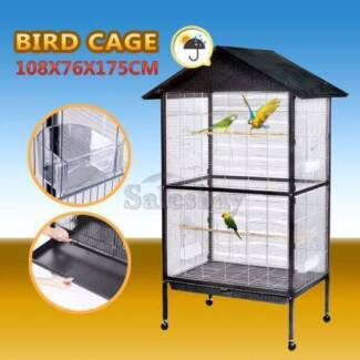 Large Bird Cage Stand-Alone On Wheels 175cm Parrot Budgie Canary