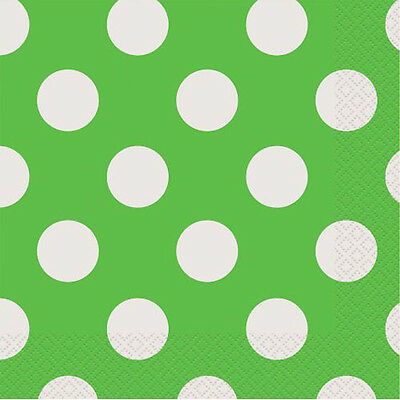 GREEN POLKA DOTS SMALL NAPKINS (16) ~ Birthday Party Baby Shower Supplies - Halloween Baby Shower Cakes