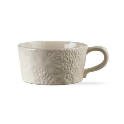 TAG Soup Mug Coffee Large Handle Stoneware Natural Floral Print Ivory White Ivory Coffee Mug