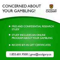 GAMBLING CONCERNS? VOLUNTEERS WANTED FOR RESEARCH STUDY!