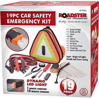BREAKDOWN EMERGENCY KIT 19PC CAR SAFETY EURO VEHICLE CARAVAN TRIANGLE LED LIGHT