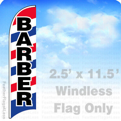 Barber - Windless Swooper Feather Flag 2.5x11.5 Banner Sign - Bb