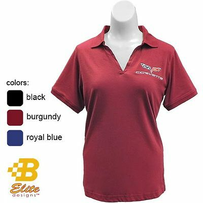 C6 CORVETTE LADIES EMBROIDERED JERSEY POLO SHIRT BLACK BURGUNDY BLUE - CLEARANCE
