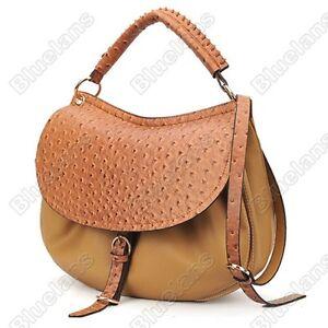 Celebrity-Faux-Ostrich-Leather-Hobo-Satchel-Shoulder-Bag-Handbag-Flap-Closure