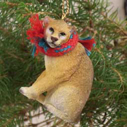 COUGAR with Scarf Tiny One Miniature Christmas ORNAMENT