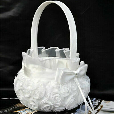 US Lovely Bridal Wedding Party Flower Girl Basket White Rose Bowknot Basket New
