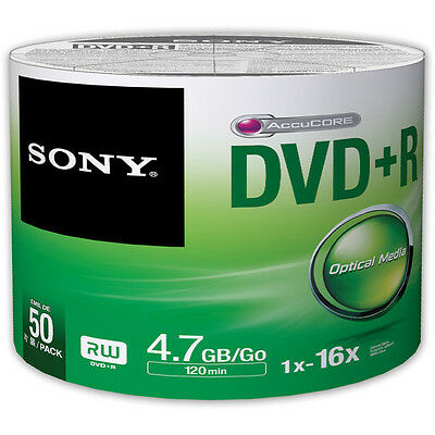 100 SONY Blank DVD+R Plus R Silver Logo Branded 16X 4.7GB 2x50 pack Media Disc