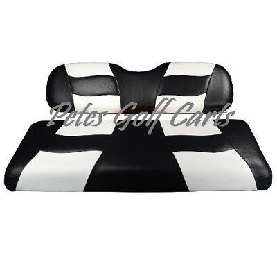 Golf Cart Custom Seat Covers BLACK/WHITE Club Car EZGO Star Yamaha  Club Car Golf Cart Seat Covers