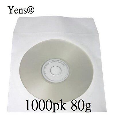Yens® 1000 pcs White CD DVD Paper Sleeves Envelopes with Flap and Clear Window