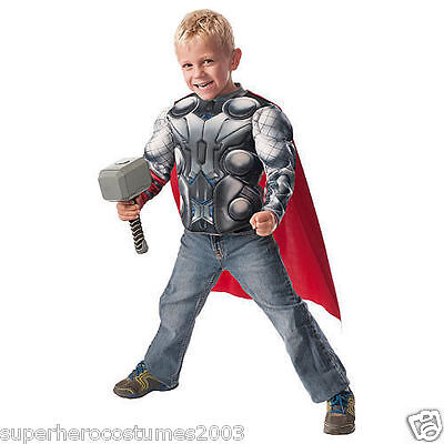 Avengers Age of Ultron Thor Child Muscle Top & Hammer Costume Set Size 4-6 NEW (Thor Kids Hammer)