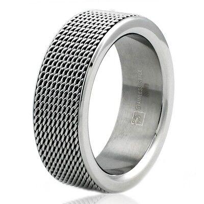 Stainless Steel Mesh Tire Design Mens Biker Ring 8MM | FREE ENGRAVING ()
