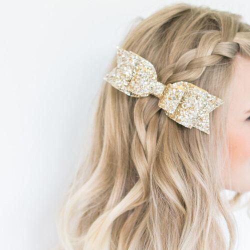 New Women Girls Sequins Bowknot Hair Clip Hairpins Barrette Hair Accessories