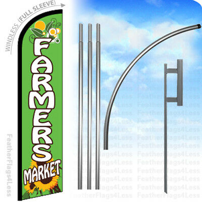 Farmers Market Windless Swooper Flag 15 Kit Feather Sign With Deluxe Pole Gf