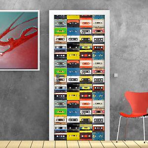 Pt0104 wall stickers adesivi murali porte decorate porta musicassette 100x210cm ebay - Porte decorate adesivi ...