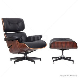 MILAN DIRECT Retro Replica Eames Lounge Chair And Ottoman Italian Leather BLACK