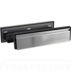 HOMEBASE LETTERPLATE POLISHED SILVER TELESCOPIC 40-80mm LETTER BOX WITH BRUSH.**