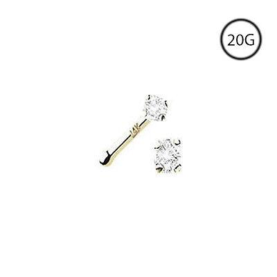 14K Yellow Gold Nose Bone Ring Stud 1.5mm Real Diamond 20G (14k Gold Nose Bone)