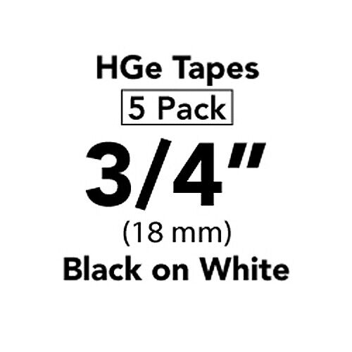Brother 18mm HGe Print Tape - 8m - Black on White (Pack of 5) (HGE2415PK)