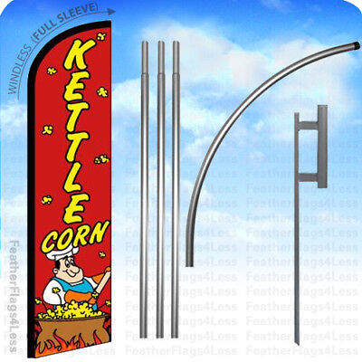 Kettle Corn - Windless Swooper Flag Kit Feather Banner Sign 15 Rf