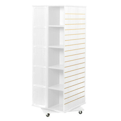 Revolving Cube Slatwall Display In White 23.5 W X 23.5 D X 63 H Inches