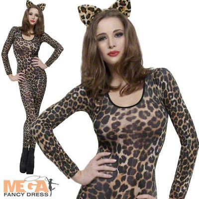 Cheetah Print Bodysuit Ladies Animal Catsuit Fancy Dress Costume Outfit UK (Animal Print Fancy Dress Kostüme)