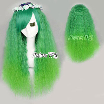 Gewellt Lang Halloween Perücke Voll Wig Kostüm Party Grün (Nicki Minaj Halloween-kostüm)