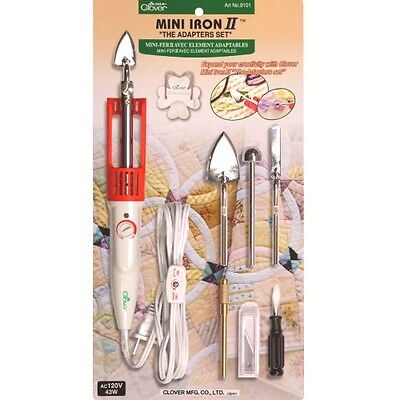 "Clover Mini Iron Ii ""the Adapter Set"" For Sewing Quilting..."
