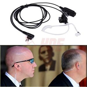 2 Pin Headset Mic Covert Acoustic Tube Earpiece for Motorola Radio Security