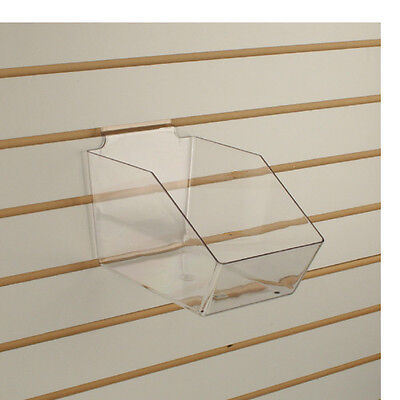 Slatwall Acrylic Bins Medium Bin 6 L X 5.5 H X 9.5 D - Clear - 10 Pieces