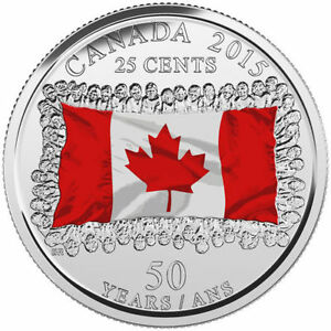 2015 Canada Flag Quarters - Coloured and Plain - Singles & Rolls