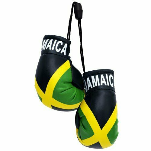 Jamaica flag mini Banner And Boxing gloves Rear view mirror free shipping