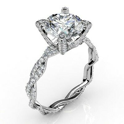 2.26Ct Round Brilliant Cut Diamond Infinity Engagement Ring Micro Pave H,VS1 GIA 1