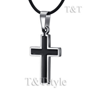 Quality-TT-Stainless-Steel-Two-Tone-Black-Cross-Pendant-Necklace-CP98
