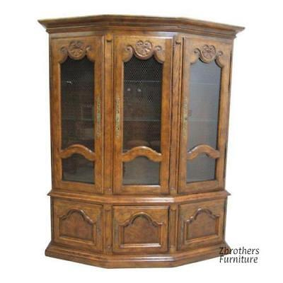 Vintage Century Furniture Country French Oak  China Cabinet Breakfront Hutch for sale  Swedesboro