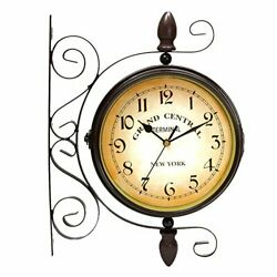 Double Sided Wall Clock 8 Iron Train Station Style Round Scroll Wall Side Mount