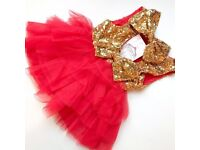 RED RUFFLE & SEQUIN DRESS